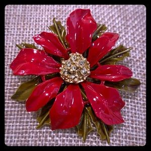 VINTAGE ART POINSETTIA ENAMEL PIN